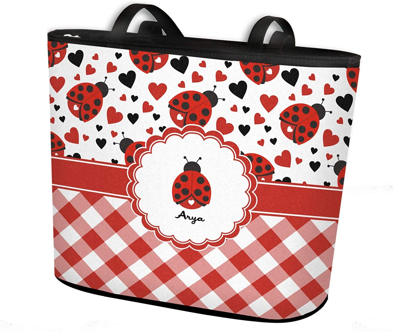 Personalized Front Ladybugs /& Gingham Bucket Bag w//Genuine Leather Trim Regular