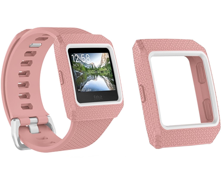 Josi Minea [ Fitbit Ionic ]保護スナップオンシェルバンパーケース – プレミアム傷防止&耐衝撃頑丈Tpuシリコンガードシールドカバーfor Fitbit Ionic Smart Fitness Watch JMI-HG-KHERS9815 B07BRV9B7B ピンク ピンク
