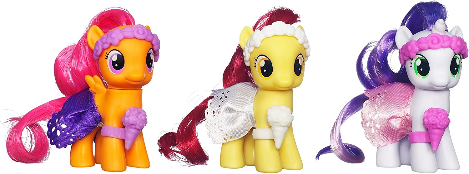 Amazon Com My Little Pony Wedding Flower Fillies Set Sweetie Belle Apple Bloom And Scootaloo 3 Pack Toys Games After applejack tells apple bloom and scootaloo not to see the hottest movie in equestria, the two fillies take it upon themselves to sneak off and see it anyway. my little pony wedding flower fillies set sweetie belle apple bloom and scootaloo 3 pack