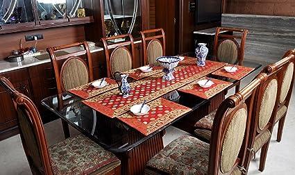 Ethnic Dining Table Runners Set Brocade Silk Polka Dot Designer Kitchen Placmate GH