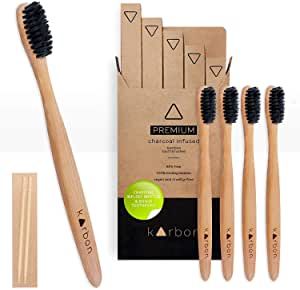 Karbon Charcoal Infused Bamboo Toothbrushes (5 Pack) W/Bamboo Toothpicks Soft Bristles Biodegradable BPA Free