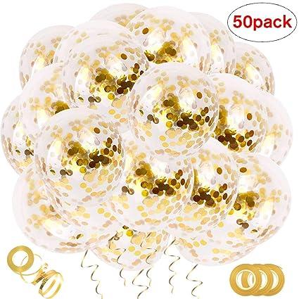 Amazon.com: 50 globos de confeti dorados, 12 pulgadas ...