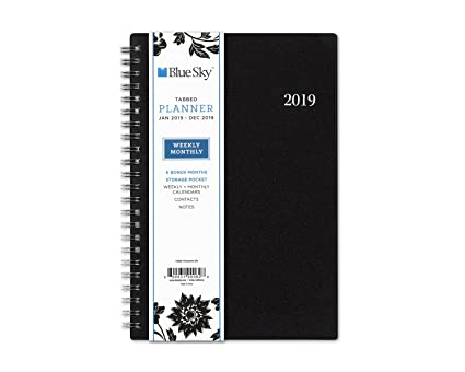 Blue Sky 2019 Weekly & Monthly Planner, Flexible Black Cover, Twin-Wire Binding, 5