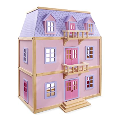 Melissa Doug Multi Level Wooden Dollhouse With 19 Pcs Furniture