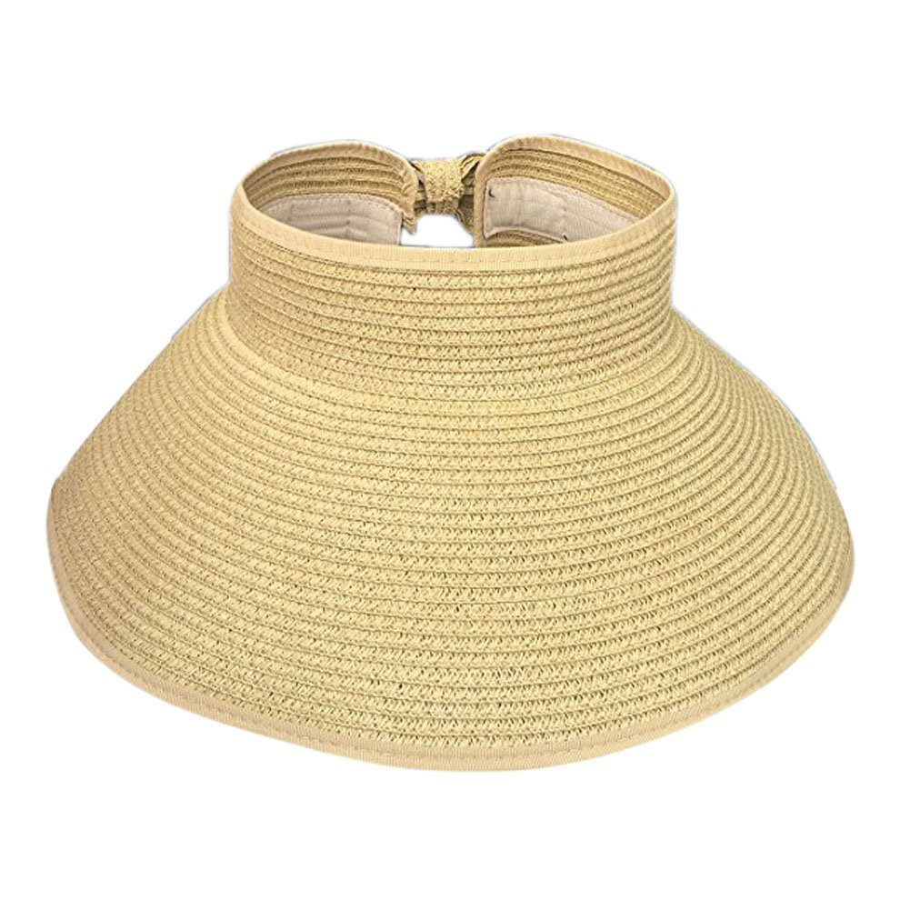 Women s UPF 50+ Summer Packable Roll-up Wide Brim Beach Sun Straw Visor Hat 99e44be875d