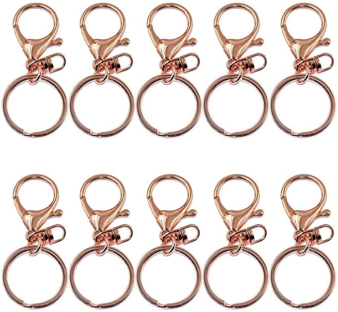 5 Rose Gold Lobster Clasp Trigger Clip Key Ring w// Split Ring Accessory 65mm