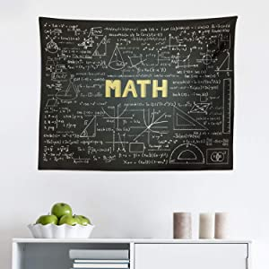 "Lunarable Mathematics Classroom Tapestry, Dark Blackboard Backdrop with Math Equations Geometry Axis Art, Fabric Wall Hanging Decor for Bedroom Living Room Dorm, 28"" X 23"", Green Yellow"