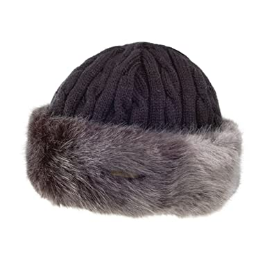 046a31c5d0b Barts Hats Faux Fur Cable Beanie Hat - Black-Grey 1-Size  Amazon.co.uk   Clothing
