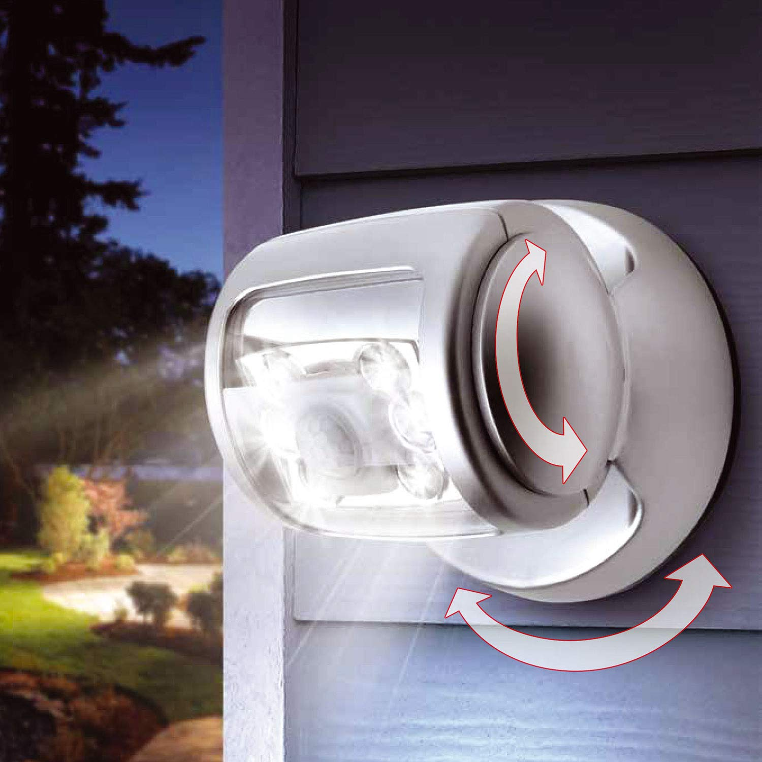 HMSR/® 360/° Motion Power Sensor Wireless LED Porch Light Auto Timer Outdoor Security Water Proof Super Bright Lamp Suitable for Garden Outdoor Fence Patio Deck Yard Home Driveway Stairs Outside Wall