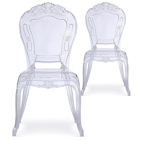 Menzzo Reali Crown - Set di 2 sedie, Plastica, Trasparente, 60 x 50 ...