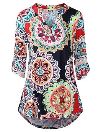 f7e0fa22b7069 DJT FASHION Womens Floral Printed Tunic Shirts 3 4 Roll Sleeve Notch ...