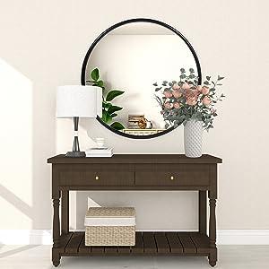 Sleek Black Round Mirror 24 inch, Modern Wall Round Bathroom Mirror, Metal Thin Frame Circle Mirrors, Large Round Wall Mirrors for Bathroom, Living Room, Barn Door, Bedroom, Modern Decor Mirrors
