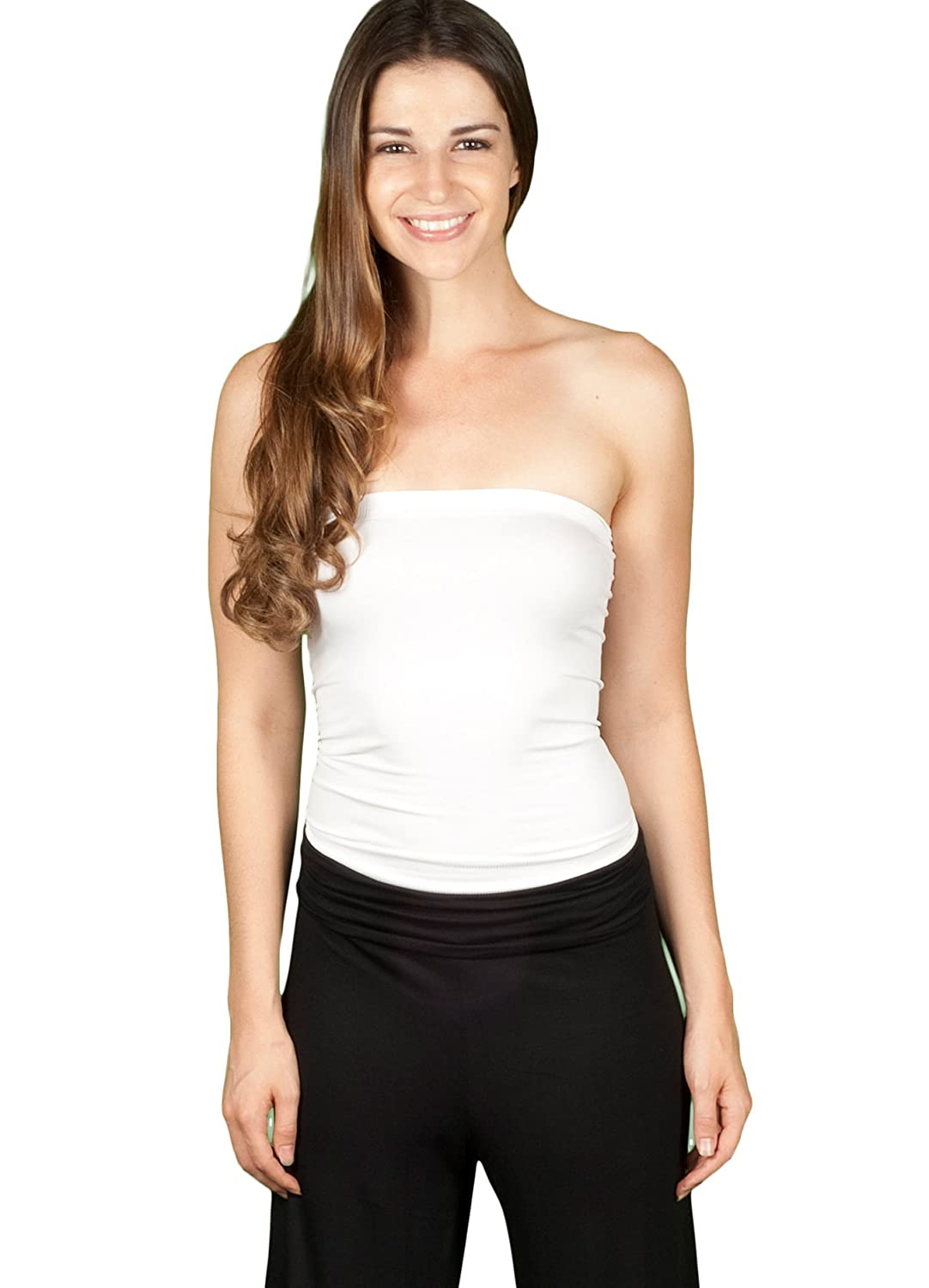 TL Womens Basic Plain Stretch Strapless Seamless Layering Long Bandeau Tube Top
