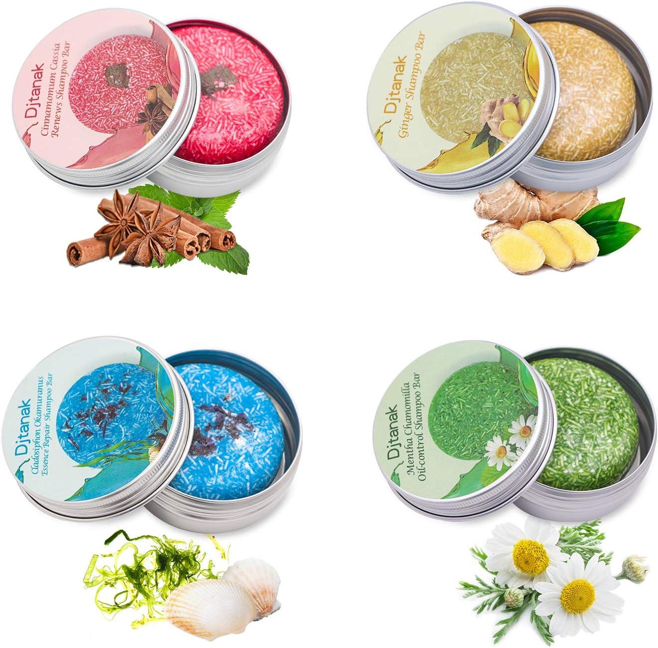 Djtanak Champú Sólido Organico 4 Pcs, Natural Herbal Champú para, Tratamiento de diferentes fragancias para la caida del pelo, anticaspa (Champú de jengibre, algas marinas, canela y menta)