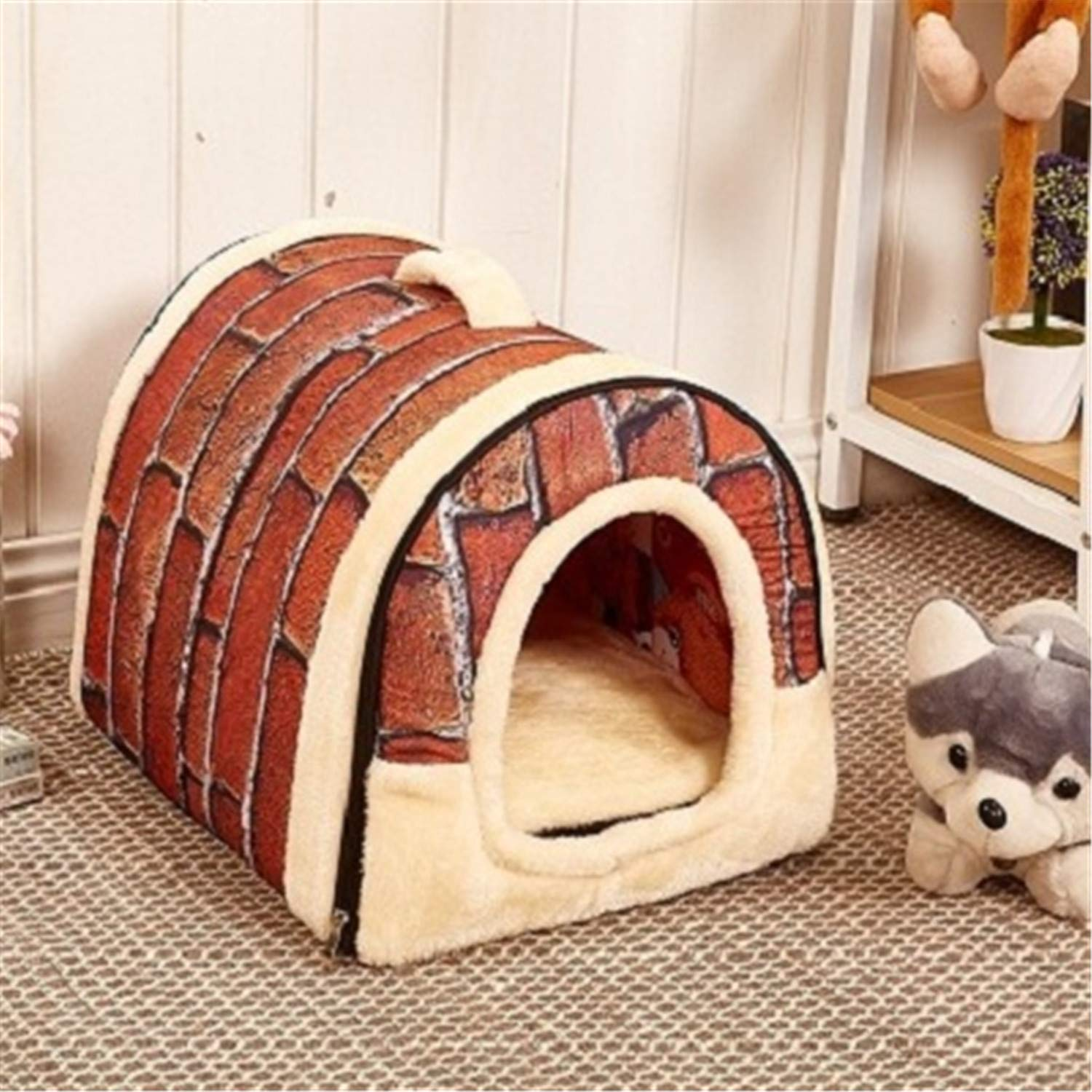 As The Picture L As The Picture L Pet Dog House Nest with Mat Foldable Pet Dog Bed Cat Bed House for Small Medium Dogs Travel Kennels for Cats Pet Products