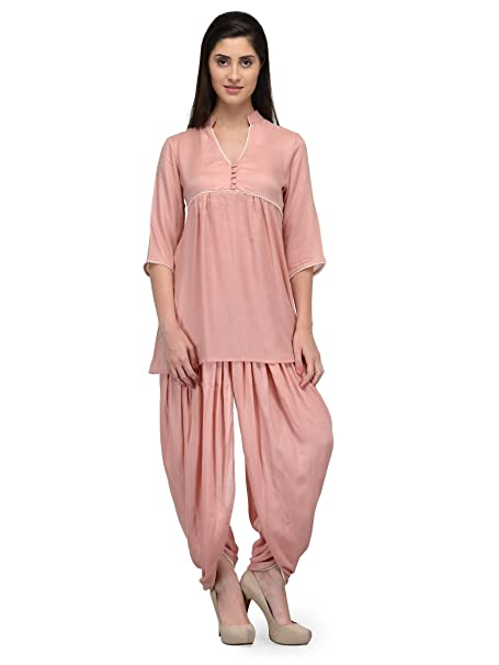 cad7021474 Patrorna Blended Women s Top and Dhoti Set Night Suit in Peach (Size ...