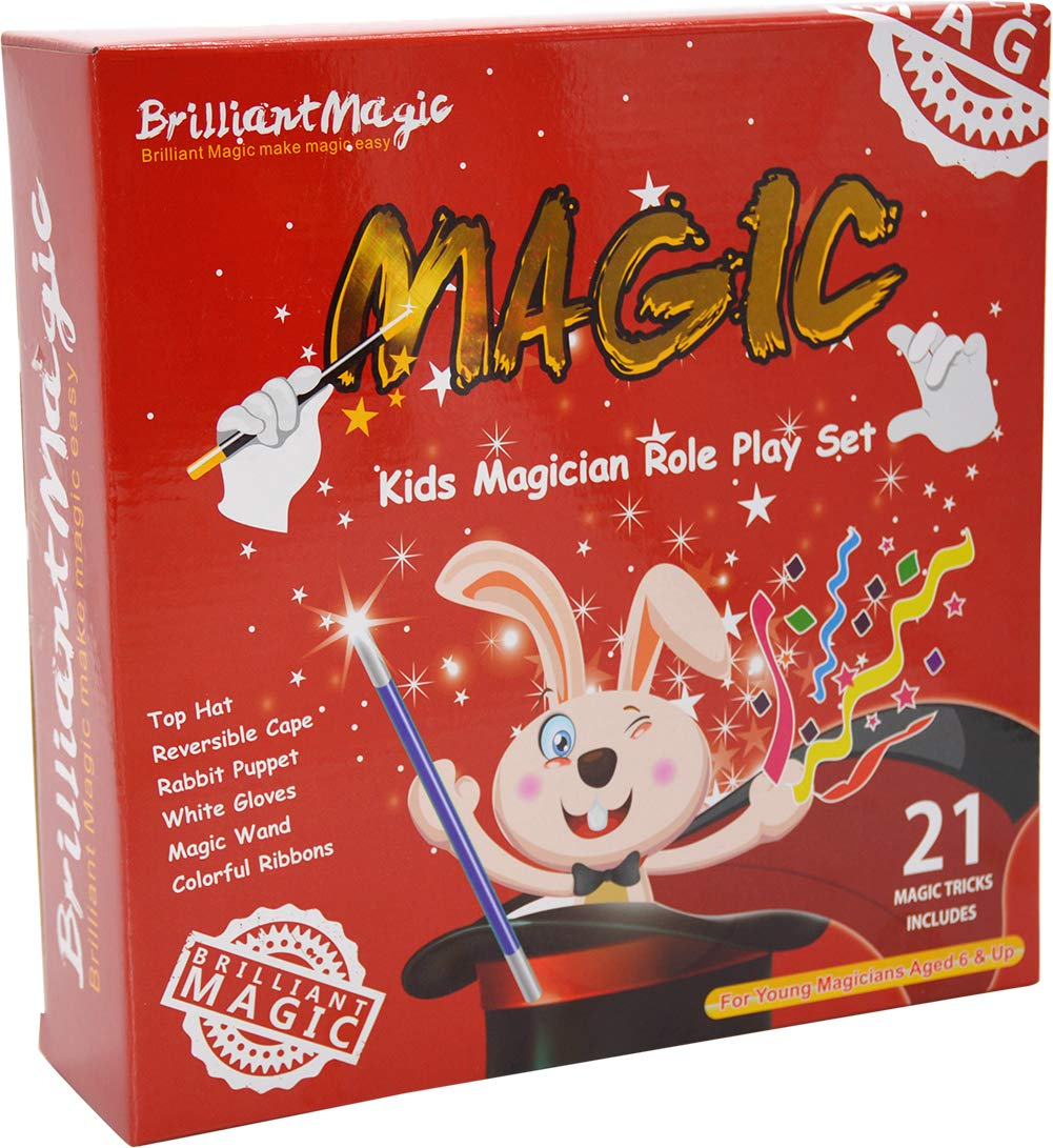 BrilliantMagic Kids Magician Role Play Set with Magic Cape Top Hat Rabbit Magic Wand Gloves and Coloring Ribbons(Small Cape 35'' Length) by BrilliantMagic (Image #8)