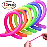 GeMoor 12Pack Sensory Stretchy String Toy, Reduce Stress and Anxiety for ADHD ADD OCD Autism, Gift for Kid and Adlut(6 colors)