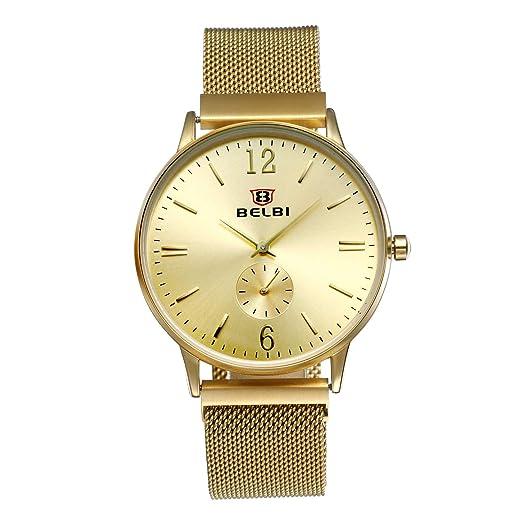 lancardo Reloj de Hombre Cuarzo cronógrafo con Malla Pulsera Reloj de Pulsera Resistente al Agua Punk Rock Hombres Reloj Oro: Amazon.es: Relojes