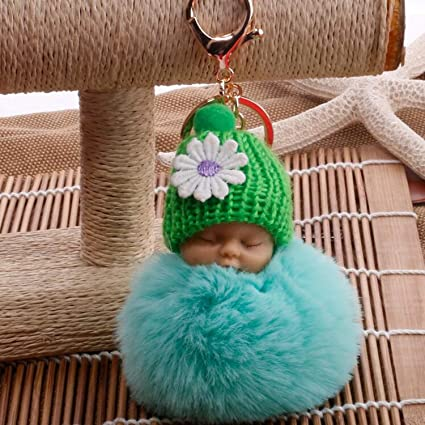 JEWH Sleeping Baby Doll Keychain - Pompom Faux Rabbit Fur Ball - Baby Toy Women Trinket