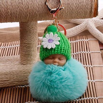 JEWH Sleeping Baby Doll Keychain - Pompom Faux Rabbit Fur Ball - Baby Toy Women Trinket