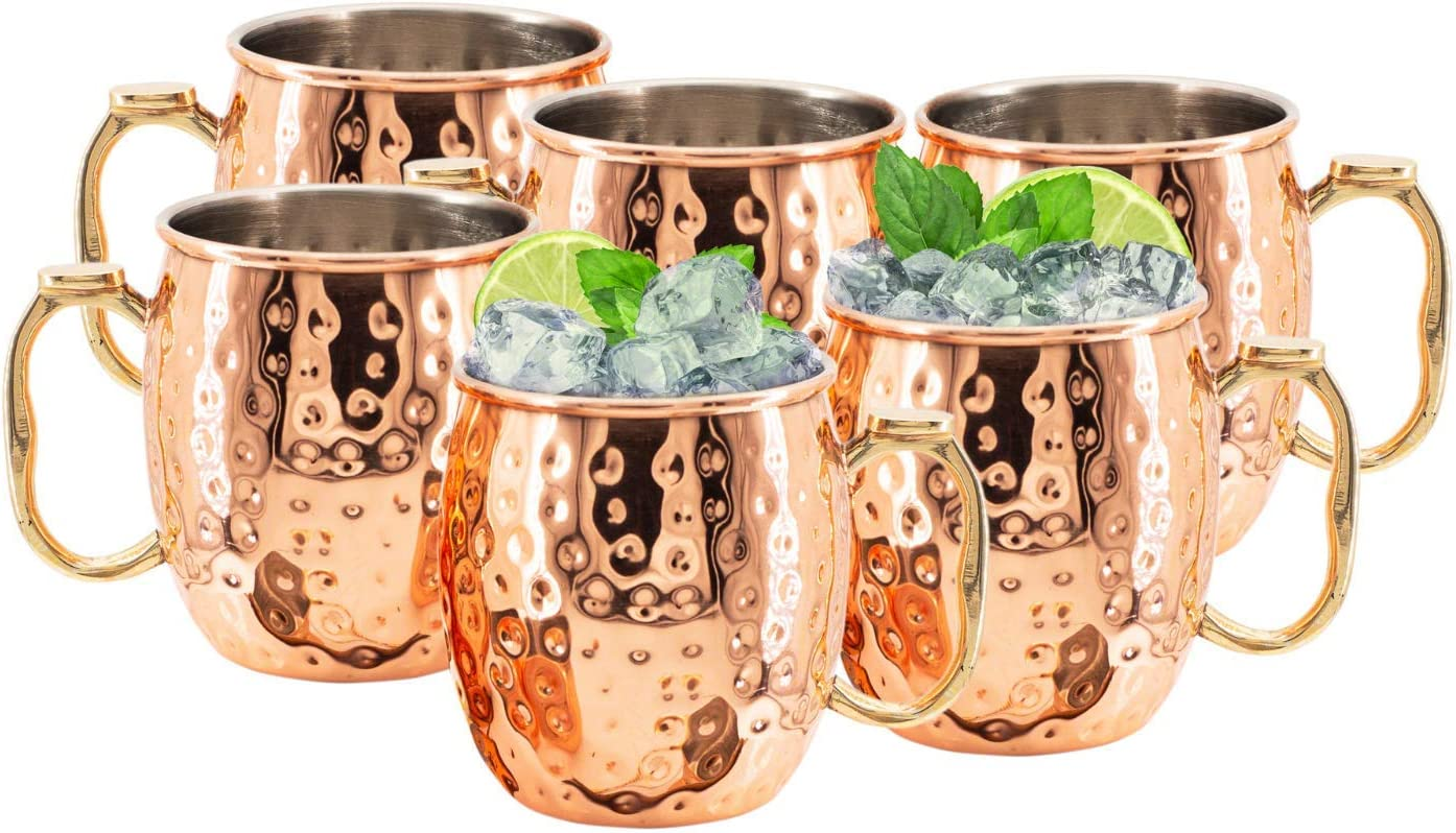 Artisan Handcrafted Kitchen Science Durable Stainless Steel Lined Moscow Mule Copper Mugs 18 Ounce Set of 6 Cups Gift Set! Food Safe & Tarnish Resistant with Thumb Rest