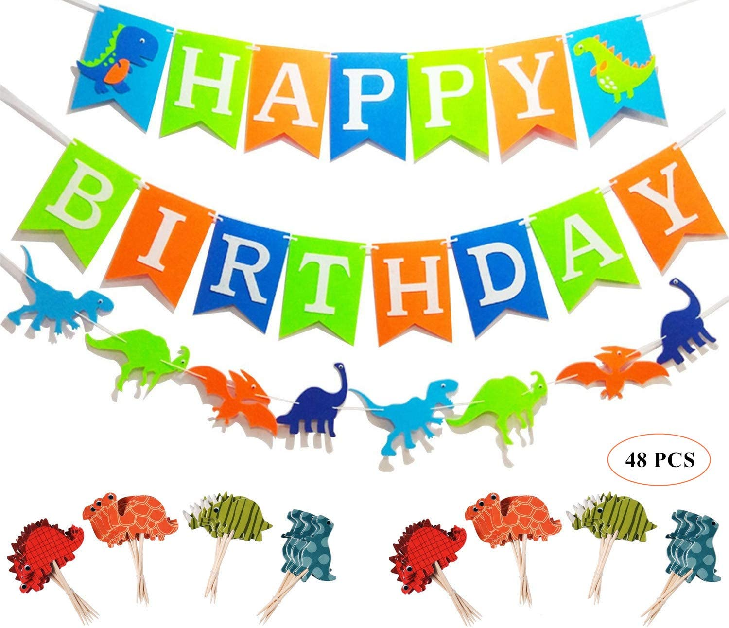 Oexper Dinosaur Happy Birthday Banner with White Letters, Dino Jungle Jurassic Garland and 48 Pieces Dinosaur Cupcake Toppers for Dinosaur Theme Boy's Birthday Décor Kids Party Supplies Decorations Party Favors