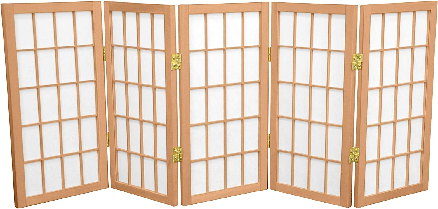 Oriental Furniture 2 ft. Tall Desktop Window Pane Shoji Screen - Natural - 5 Panels