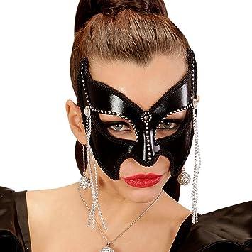 Trucco Halloween Catwoman.Net Toys Maschera Domino Catwoman Maschera A Meta Viso Nera Con