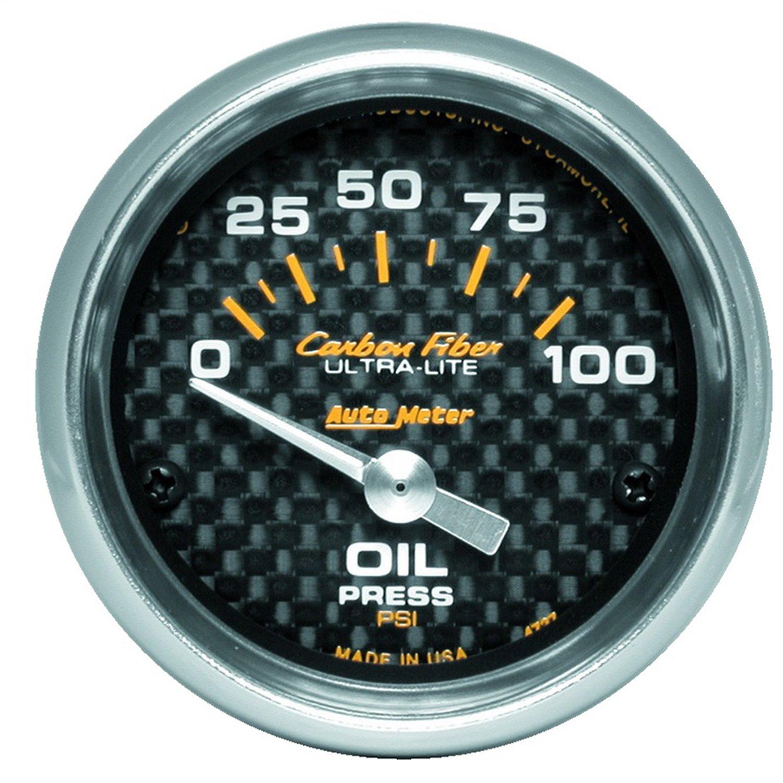 Auto Meter 4727 Carbon Fiber Short Sweep Electric Oil Pressure Gauge