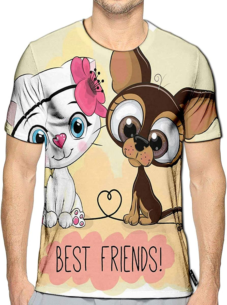 3D Printed T-Shirts Cute Cartoon Cat and Dog On A Yellow Short Sleeve Tops Tees
