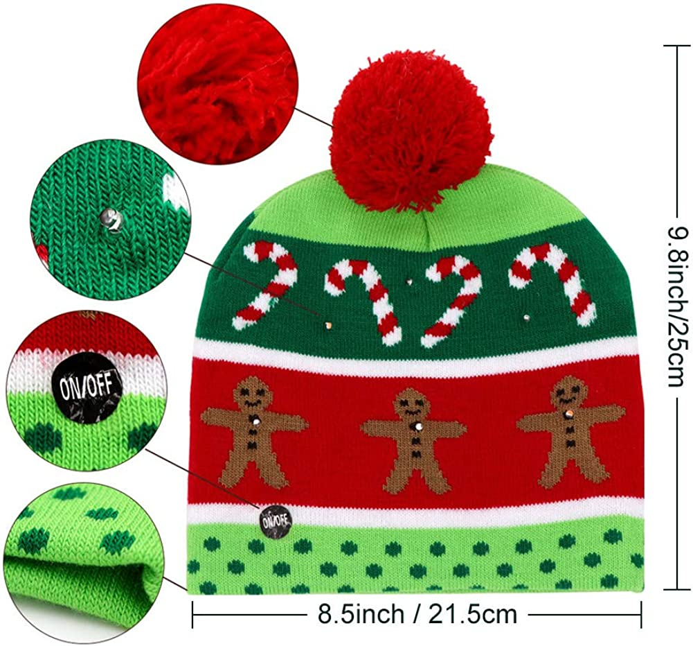 OurWarm LED Light-up Christmas Hats Xmas Santa Ugly Hat Beanies 10 Colorful Lights Flashing Cap for New Year Party