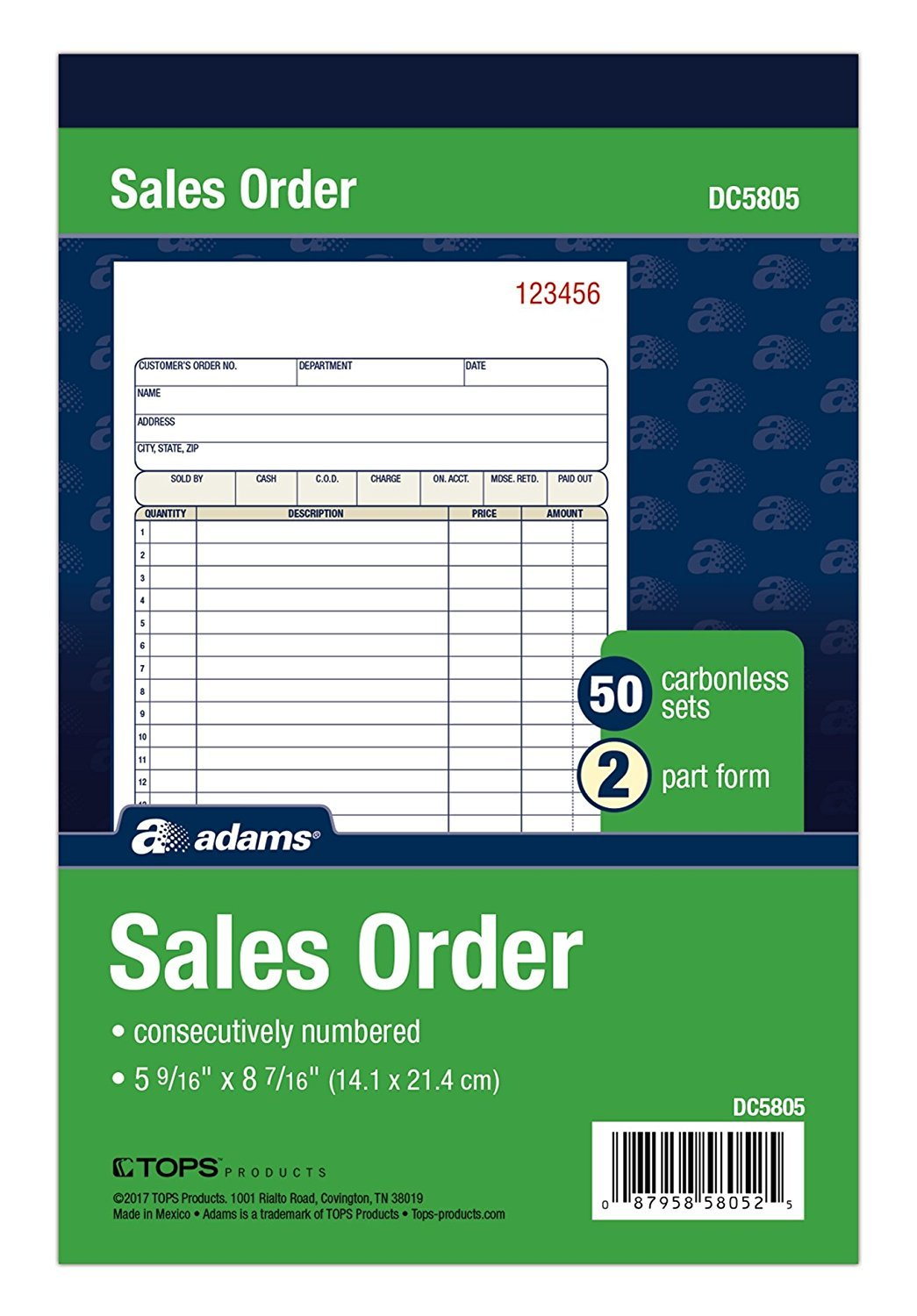Adams Sales Order Book, 2-Part, Carbonless, White/Canary, 5-9/16 x 8-7/16 inches, 50 Sets per Book (DC5805) (12 Pack)