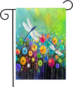 Flowers Garden Flag Dragonfly House Flag Spring Welcome Garden Flags 12 x 18 Double Sided Floral Flags for Patio Lawn Home Outdoor Decor