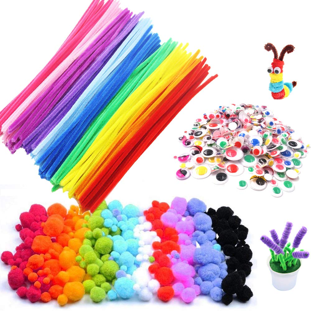 600Pcs Pipe Cleaners Craft Set, Included 200Pcs Pipe Cleaners, 200Pcs Pom Poms, 200Pcs Self-Sticking Wiggle Googly Eyes, Assorted Colors and Assorted Sizes for DIY Art Craft