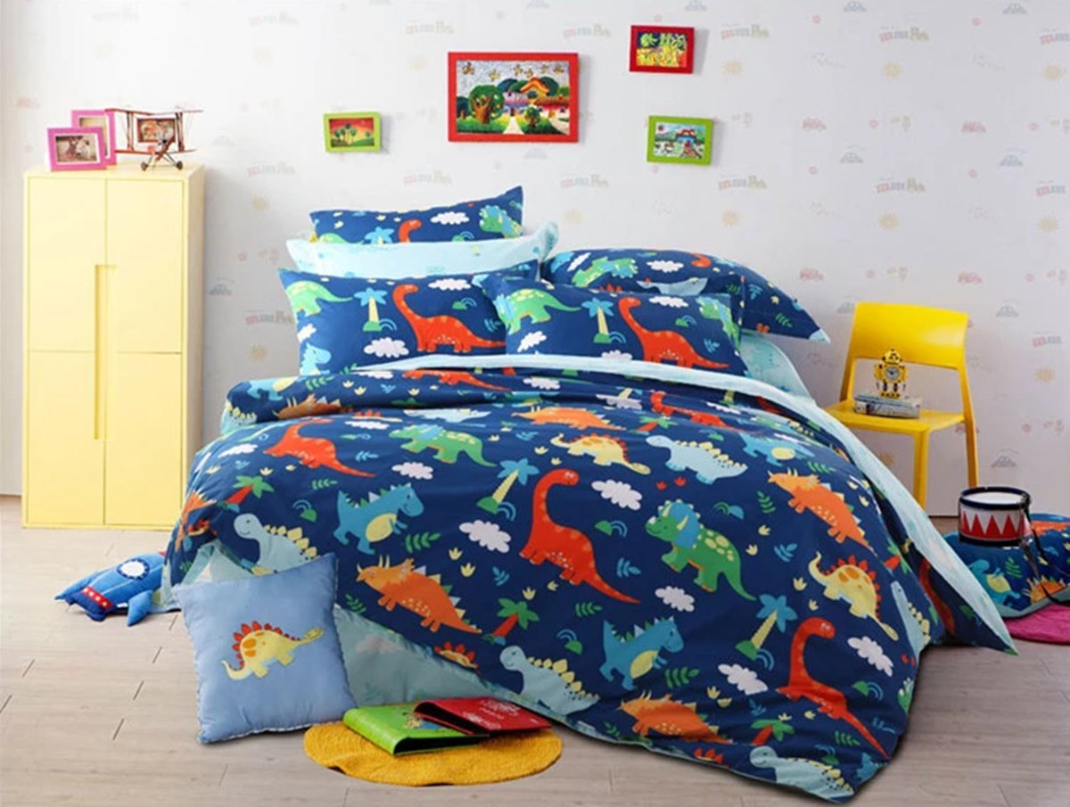HNNSI 4 Piece Cotton Dinosaur Kids Boys Bedding Sets Queen Size, Dinosaur Kids Duvet Cover with Fitted Bed Sheet, Dinosaur Quilt /Comforter Cover for Children Teens (Queen, Fitted Sheet Set) by HNNSI
