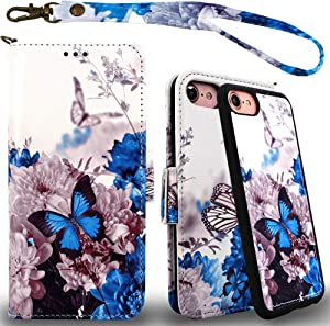 Mefon Detachable Leather Wallet Phone Case, with Tempered Glass and Wrist Strap, Enhanced Magnetic Closure, Durable Slim, Luxury Flip Folio Cases for Apple iPhone 8 7, 6S 6, 4.7 inch (Butterfly 1)