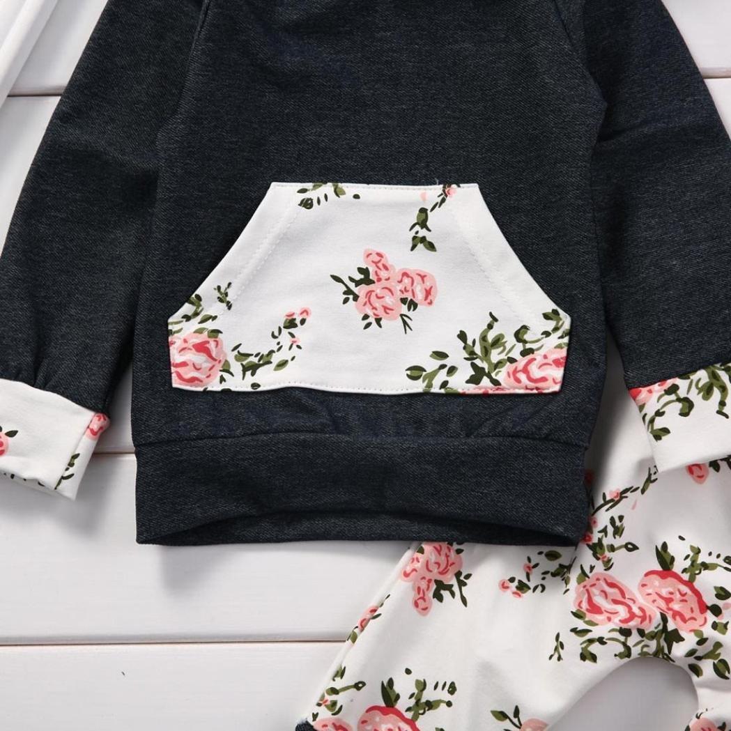 0-24Monat Hosen Outfits by 2pcs Kleinkind S/äugling Baby Junge M/ädchen Kleidung Satz Blumen Hoodie Tops QinMM Halloween Babykleidung