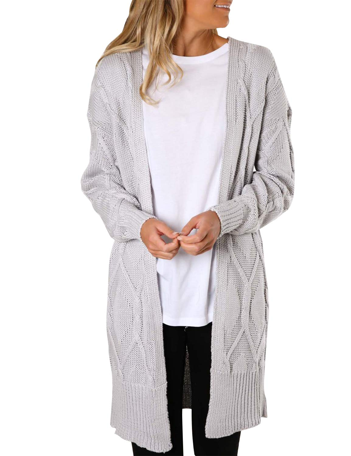 BMJL Women's Long Sleeved Cardigan Longline Sweater Warm with Pockets Geometric Texture Grey