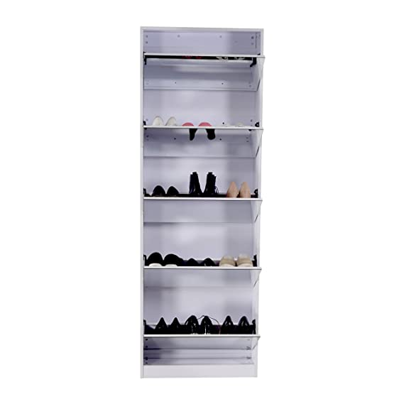 75755dc41773 Amazon.com  Organizedlife White Wooden Shoe Cabinet Mirror Shoe Organizer  with with 5 Racks  Home   Kitchen