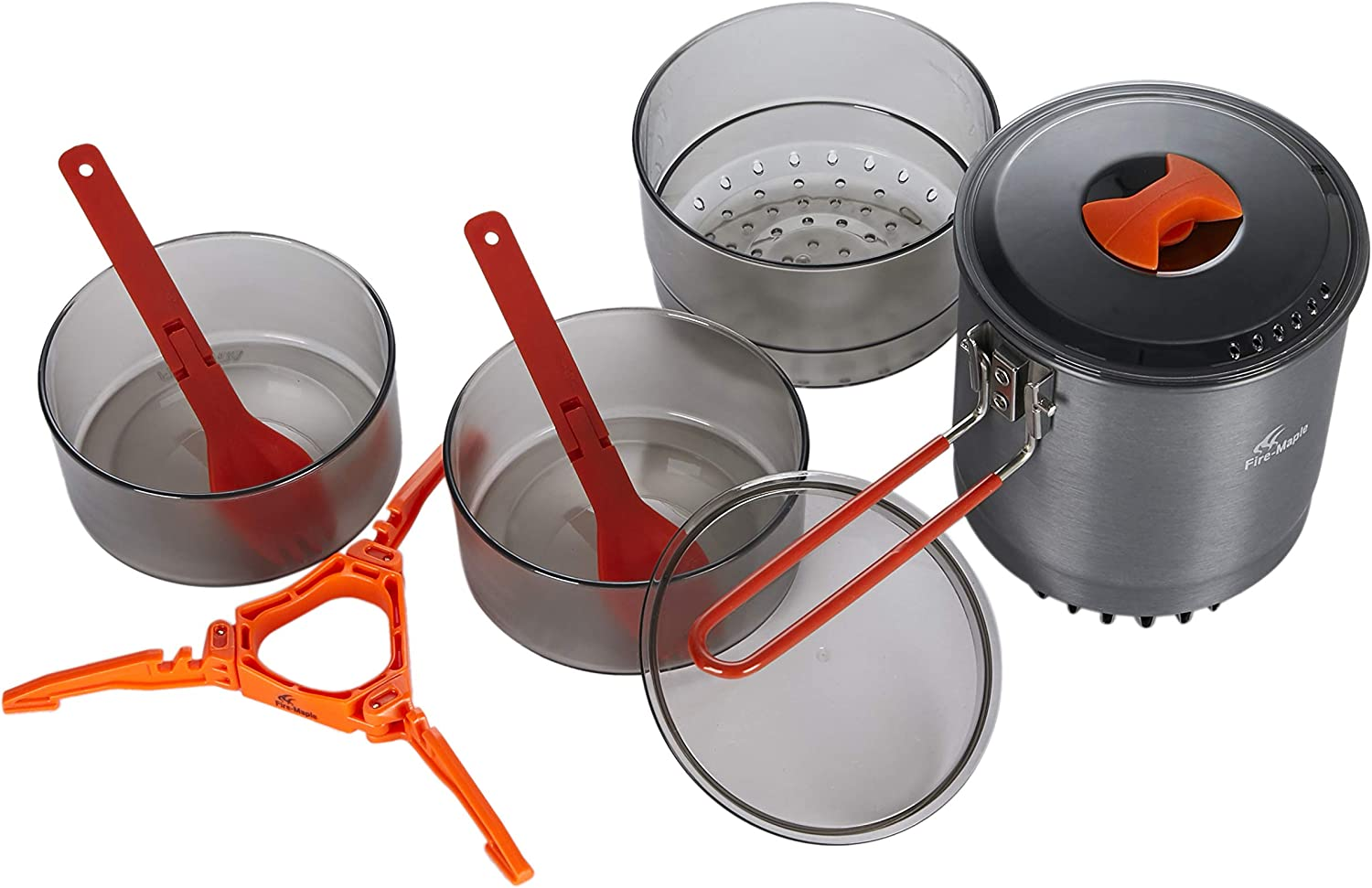 Fire-Maple Island Steamer Kit, Deluxe Outdoor Cookset with Steamer Cooking Basket   Camping Cookware   10 Piece Pot and Mess Kit   Essential Camping Accessories