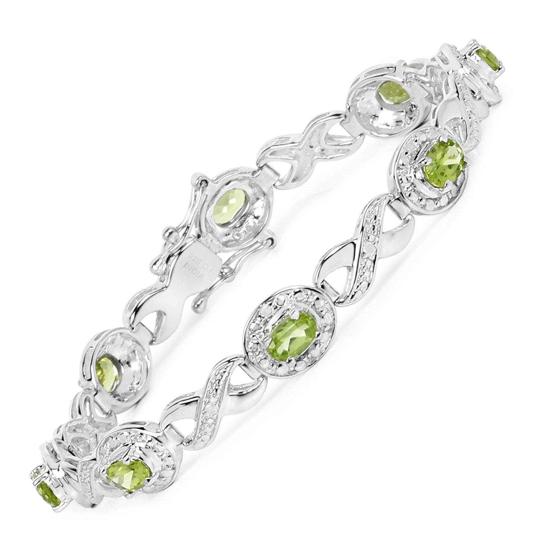 Peridot Diamond Bracelet Oval 925 Sterling Silver 3.74 ct Gemstone 7.25 inches