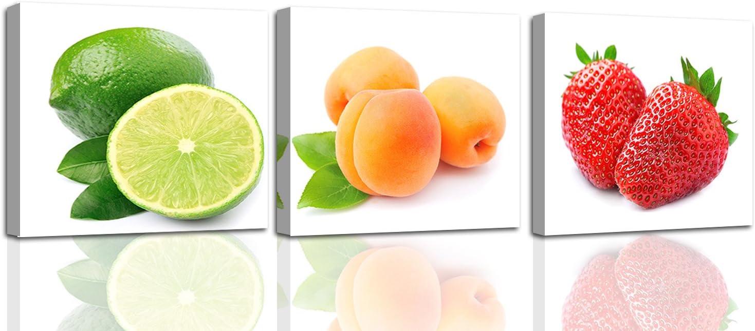 Feeby. Cuadro en Lienzo - 3 Partes - Cuadros decoración, Imagen Impresa en Lienzo, Canvas, 90x30 cm, Fruta, CULINARIA, Multicolor