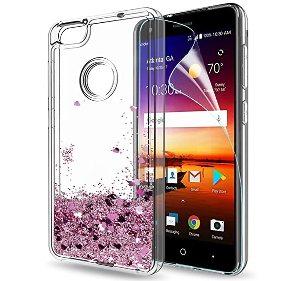 new arrivals 1029c 8d40c ZTE Blade X Case Z965 with HD Screen Protector for Girls Women,LeYi Glitter  Shiny Bling Moving Quicksand Liquid Cute Clear TPU Protective Phone Cover  ...