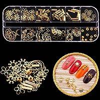 Niome 12 Grid Gold Metal Hollow Out Rivet Punk Nail Studs 3D Manicure Paillette DIY Decals Tips Nail Art Decoration