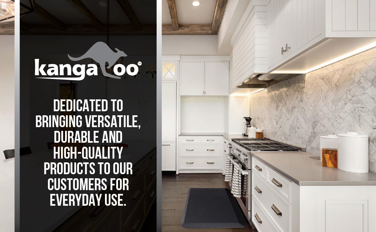 Kangaroo Brands Original 3/4'' Anti Fatigue Comfort Standing Mat Kitchen Rug, Phthalate Free, Non-Toxic, Waterproof, Ergonomically Engineered Floor Pad, Rugs Office Stand up Desk, 32x20 (Black) by Kangaroo Brands (Image #3)