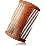 "RIJAL Pocket Beard Comb Wood - 100% Real Sandalwood Comb - Natural Aromatic Scent & Anti-Static Dual-Sided Coarse & Fine Tooth Comb (4"" Two sides)"