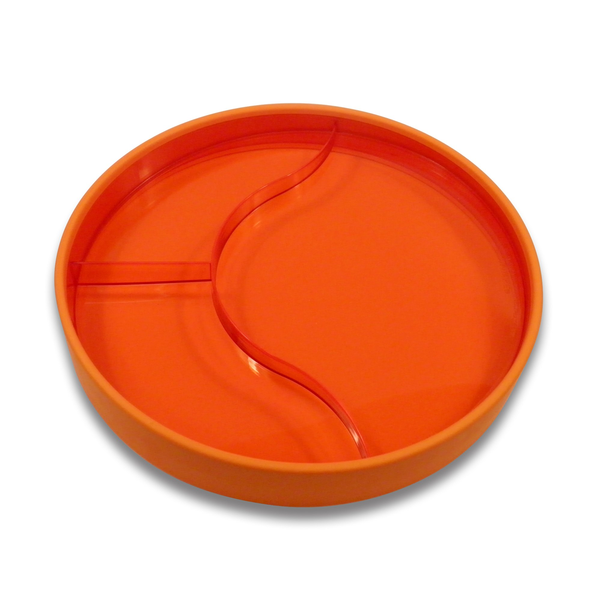 STAYnEAT Jr. Reversible Suction Plate, 2 Sided, Sloped, Divided 7.5'' Transparent Orange