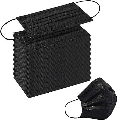 Disposable Black Face Masks 200 Pcs Black Face Masks 3 Ply Filter Protection for Women Men