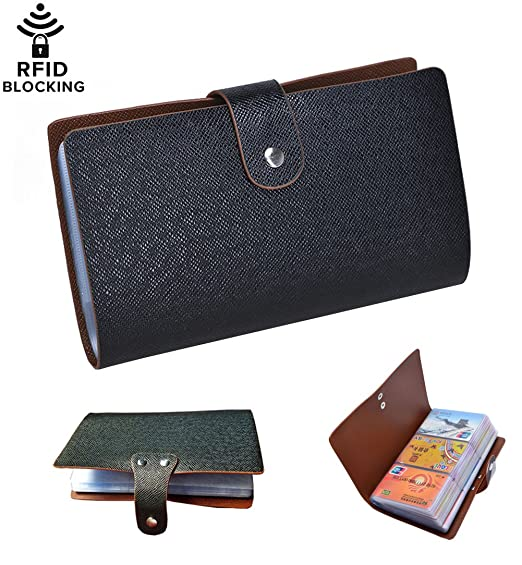 96 card slots rfid blocking credit card holder leather multi business card cases - Business Card Cases